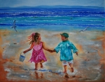 Boy And Girl Prints - Buddys Playing Print by Leslie Allen