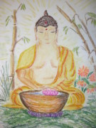Budha Mixed Media Posters - Budha Poster by Carol Frances Arthur