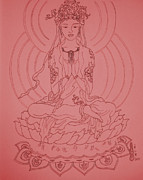 Budha Drawings Posters - Budha In Pink Poster by Amanda Li