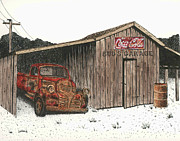 Barn Pen And Ink Posters - Buds Garage Poster by Mike OBrien