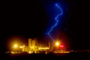 Lightning Bolt Pictures Prints - Budweiser Lightning Strike Print by James Bo Insogna