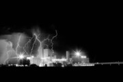 Storm Prints Photo Prints - Budweiser Lightning Thunderstorm Moving Out BW Print by James Bo Insogna