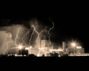 Lightning Strike Framed Prints - Budweiser Lightning Thunderstorm Moving Out BW Sepia Crop Framed Print by James Bo Insogna