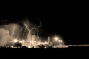 Storm Prints Photo Prints - Budweiser Lightning Thunderstorm Moving Out BW Sepia Print by James Bo Insogna