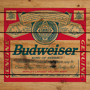 Beer Digital Art Posters - Budweiser on wood Poster by Nop Briex