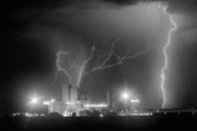 Lightning Bolts Prints - Budweiser Power BW Print by James Bo Insogna