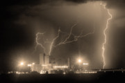 Lightning Bolts Prints - Budweiser Power BW Sepia Print by James Bo Insogna