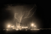 Unusual Lightning Prints - Budweiser Powered by Lightning Sepia Print by James Bo Insogna