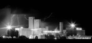 Monsoon Framed Prints - Budwesier Brewery Lightning Thunderstorm Image 3918  BW Pano Framed Print by James Bo Insogna