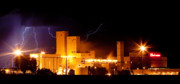 Lightning Weather Stock Images Posters - Budwesier Brewery Lightning Thunderstorm Image 3918 Panorama Poster by James Bo Insogna