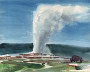 Yellowstone Painting Originals - Buffalo and Geyser by Donald Maier