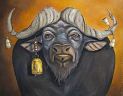 Steer Framed Prints - Buffalo Bells Framed Print by Leah Saulnier The Painting Maniac