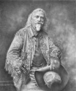 American West Drawings - Buffalo Bill by Steven Paul Carlson