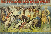Buffalo Bill Cody Framed Prints - Buffalo Bills Wild West Show Poster Framed Print by Everett