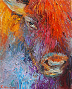 Wild Life Drawings Prints - Buffalo Bison wild life oil painting print Print by Svetlana Novikova
