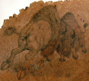 Bison Pyrography Prints - Buffalo Butt Print by Jerrywayne Anderson