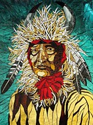 Landmarks Glass Art Originals - Buffalo Chief by Julie Christensen