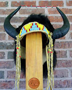 Warrior Sculptures - Buffalo Horn Headress by Roger D Hale