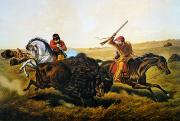 Great Plains Photos - Buffalo Hunt, 1862 by Granger