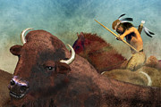 American West Digital Art Prints - Buffalo Hunter Print by Carol and Mike Werner