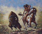 Sioux Framed Prints - Buffalo Hunter Framed Print by Harvie Brown