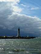 1833 Photos - Buffalo  Lighthouse and Dark Sky by Joseph Rennie