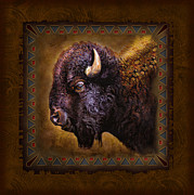 Dakota Painting Metal Prints - Buffalo Lodge Metal Print by JQ Licensing