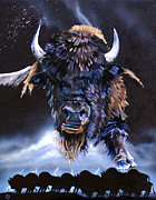 Sacrifice Mixed Media Metal Prints - Buffalo Medicine Metal Print by J W Baker