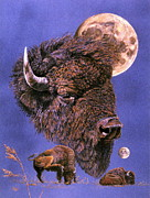 Bison Pastels - Buffalo-Moon series by Turea Grice