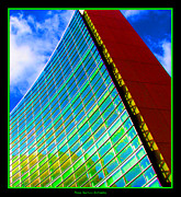 Neon Effects Prints - Buffalo New York Skyscraper in Neon Print by Rose Santuci-Sofranko