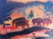 Buffalo River Paintings - Buffalo On The River by Kerdy Mitcho