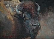 Buffalo Paintings - Buffalo Portrait by Jim Clements
