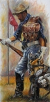 Buffalo Paintings - Buffalo Soldier Outfitted by Harvie Brown