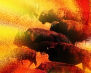 Bison Prints - Buffalo Sun Print by Terril Heilman