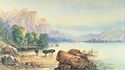 Lake Scene Paintings - Buffalo Watering by Thomas Moran