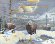 Wyoming Paintings - Buffalo Winter by Will Bell