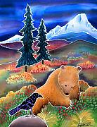 Grizzly Bear Paintings - Buffaloberries in Autumn by Harriet Peck Taylor