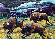 Western Western Art Pastels Framed Prints - Buffaloes Race the Storm Framed Print by Harriet Peck Taylor