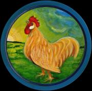 Contemporary American Folk Art Framed Prints - Buffy the Rooster Framed Print by Anna Folkartanna Maciejewska-Dyba