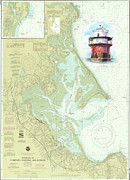 Duxbury Posters - Bug Light on a NOAA Chart Poster by P Anthony Visco