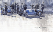 Louis Framed Prints - Bugatti 35C Monaco GP 1930 Louis Chiron  Framed Print by Yuriy  Shevchuk