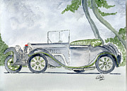Classic Car Drawings - Bugatti by Eva Ason