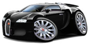 Exotic Digital Art Framed Prints - Bugatti Veyron Black car Framed Print by Maddmax