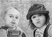 Pencil Sketch Mixed Media Prints - Bugle Boy and Sweet Apple  Print by Peter Piatt