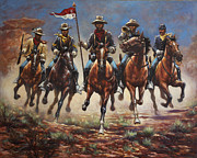 Cavalry Painting Framed Prints - Bugler And The Guidon Framed Print by Harvie Brown