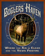 Mountain Cabin Framed Prints - Buglers Haven Sign Framed Print by JQ Licensing