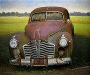 Old Barn Painting Posters - Buick Eight Poster by Doug Strickland