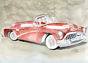 Vehicle Drawings Posters - Buick Skylark 1953 Poster by Eva Ason