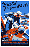 Wpa Framed Prints - Build For Your Navy  Framed Print by War Is Hell Store