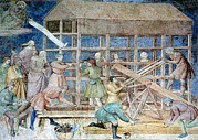 Noah Framed Prints - Building Noahs Ark, 14th Century Fresco Framed Print by Sheila Terry